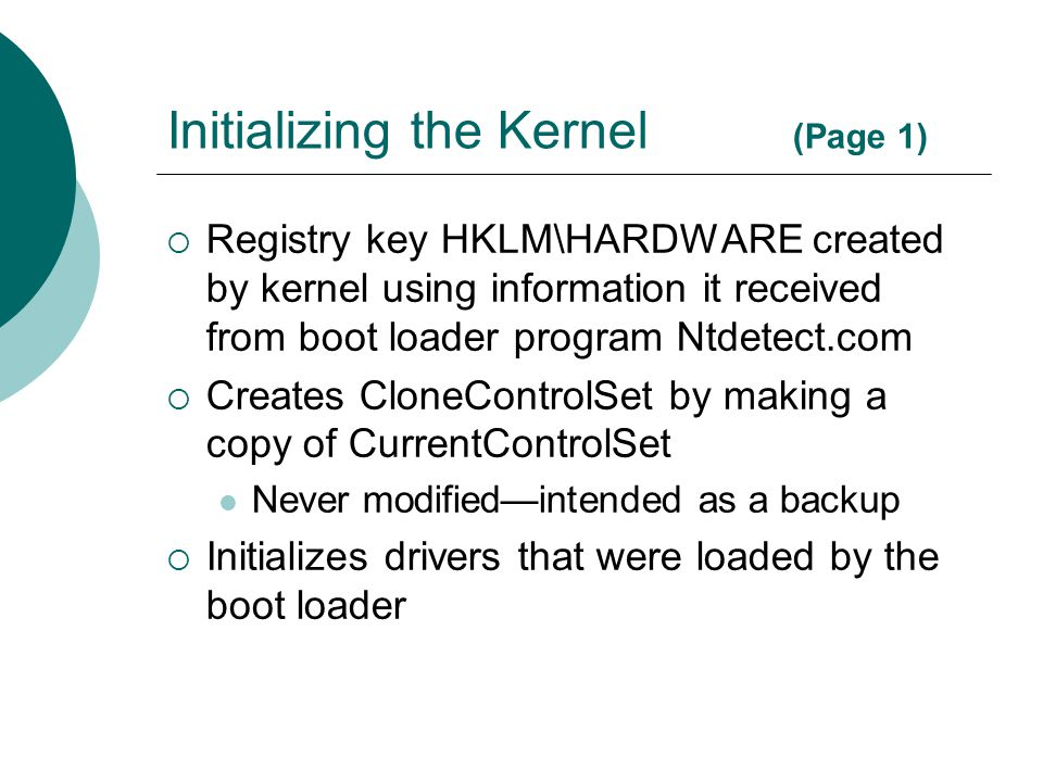 Initializing the Kernel (Page 1)