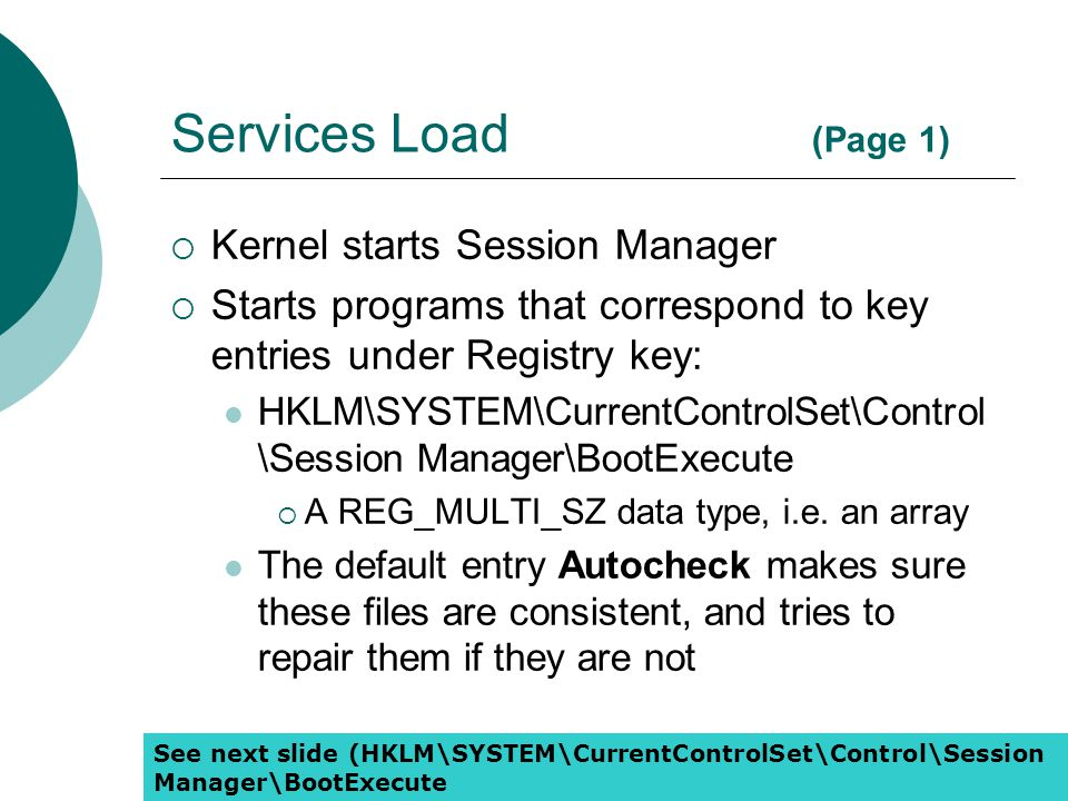 Services Load (Page 1) Kernel starts Session Manager