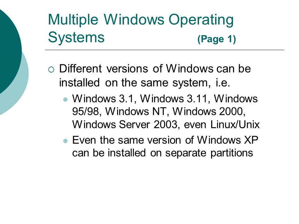 Multiple Windows Operating Systems (Page 1)