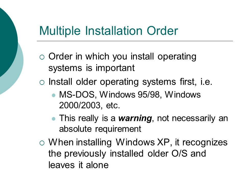 Multiple Installation Order