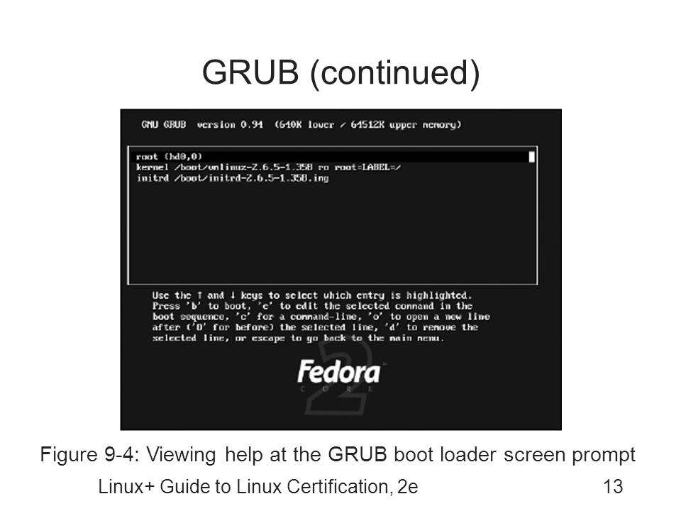 GRUB (continued) Figure 9-4: Viewing help at the GRUB boot loader screen prompt.