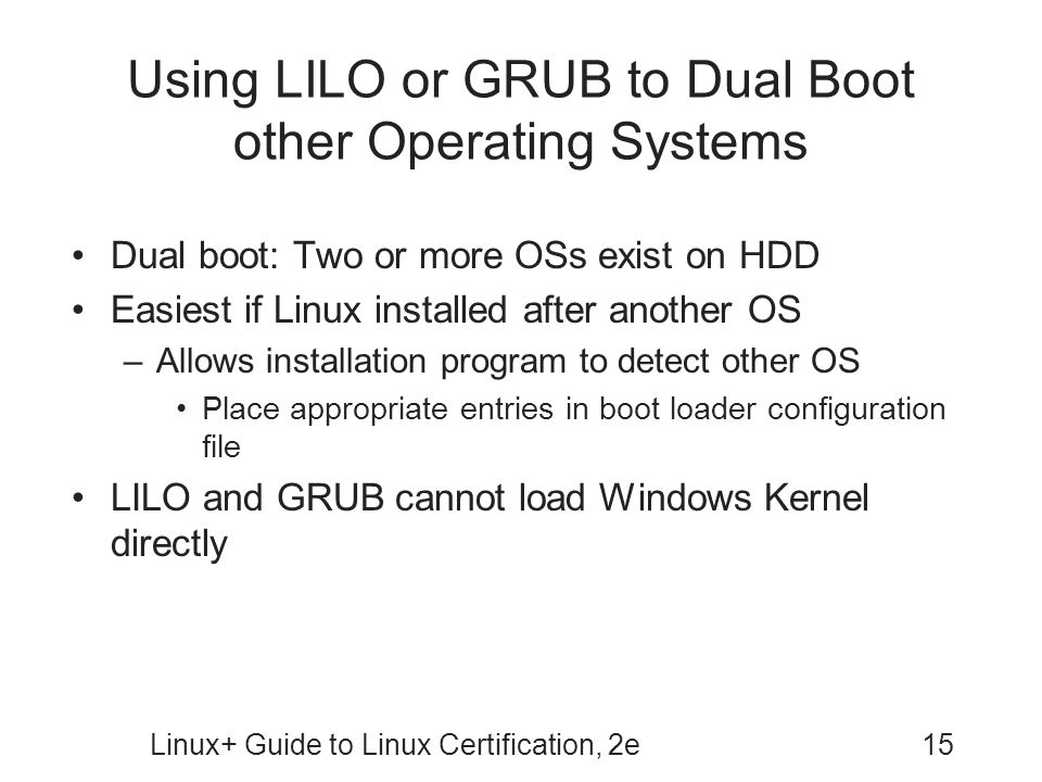 Using LILO or GRUB to Dual Boot other Operating Systems