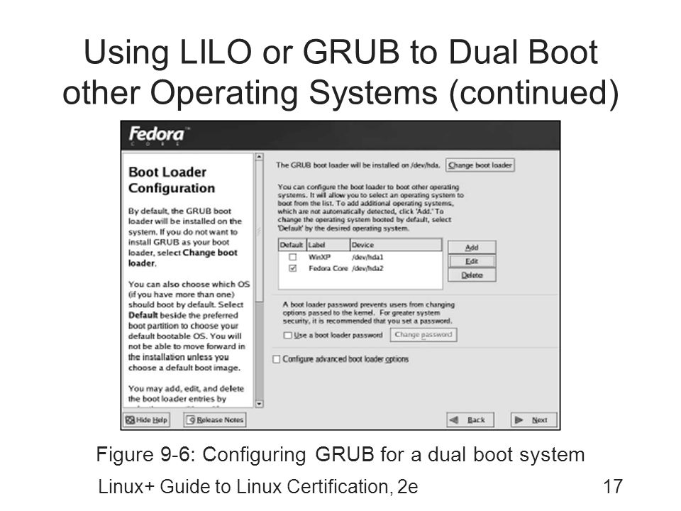 Using LILO or GRUB to Dual Boot other Operating Systems (continued)