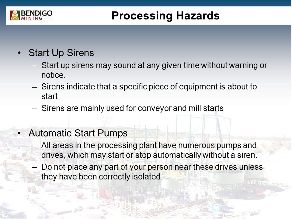 Processing Hazards Start Up Sirens Automatic Start Pumps
