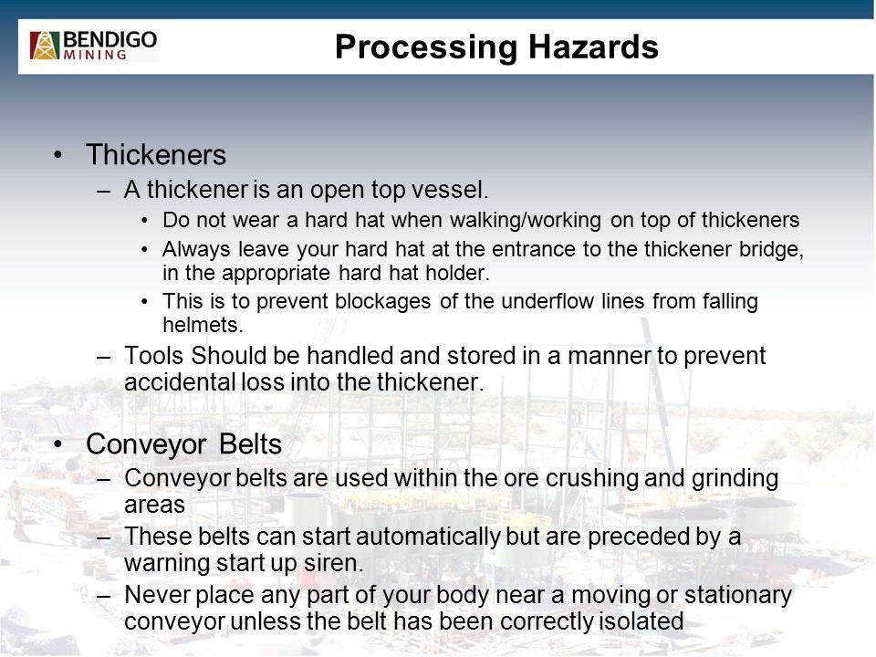 Processing Hazards Thickeners Conveyor Belts
