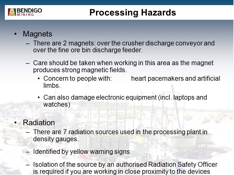 Processing Hazards Magnets Radiation