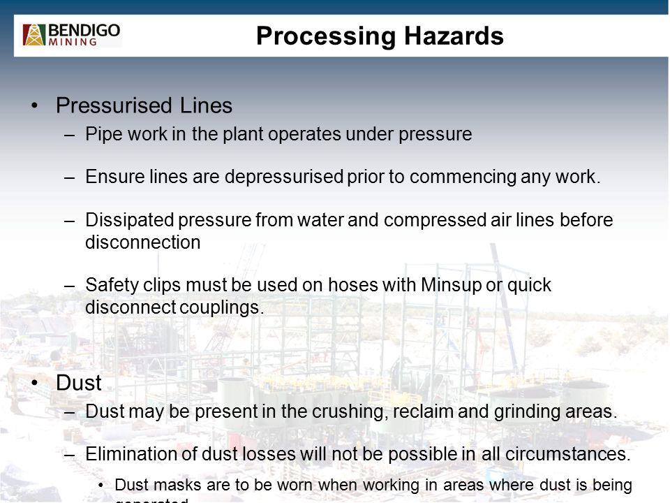 Processing Hazards Pressurised Lines Dust