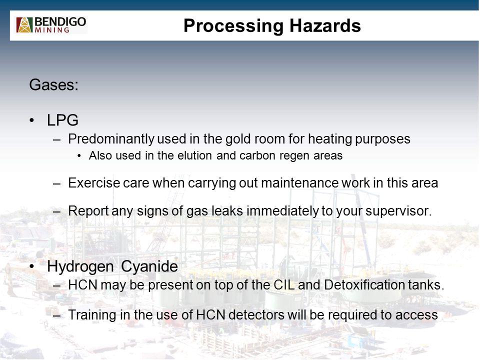 Processing Hazards Gases: LPG Hydrogen Cyanide