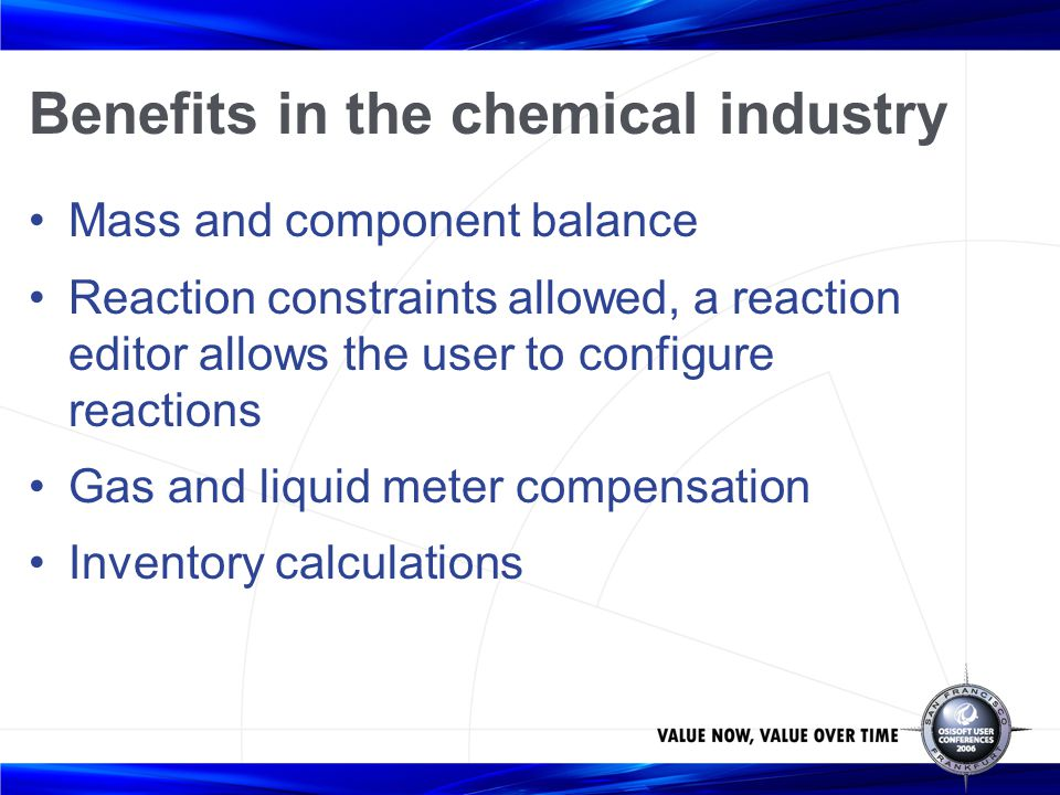 Benefits in the chemical industry