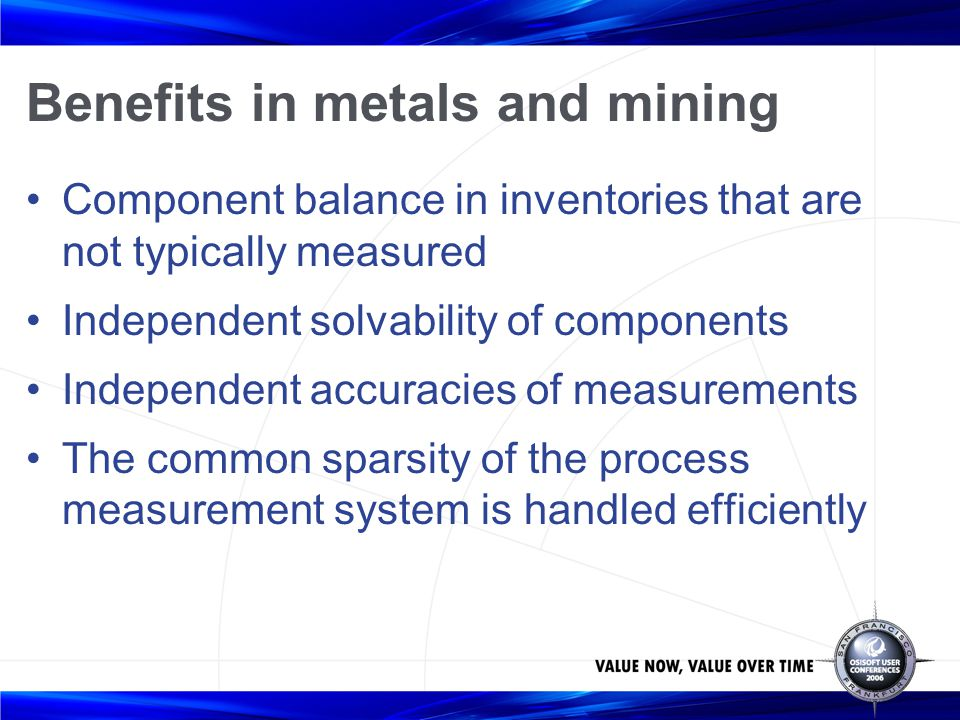 Benefits in metals and mining