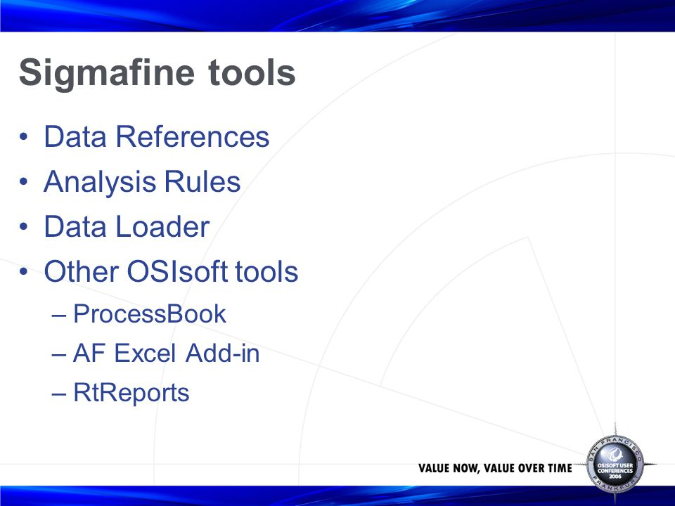 Sigmafine tools Data References Analysis Rules Data Loader