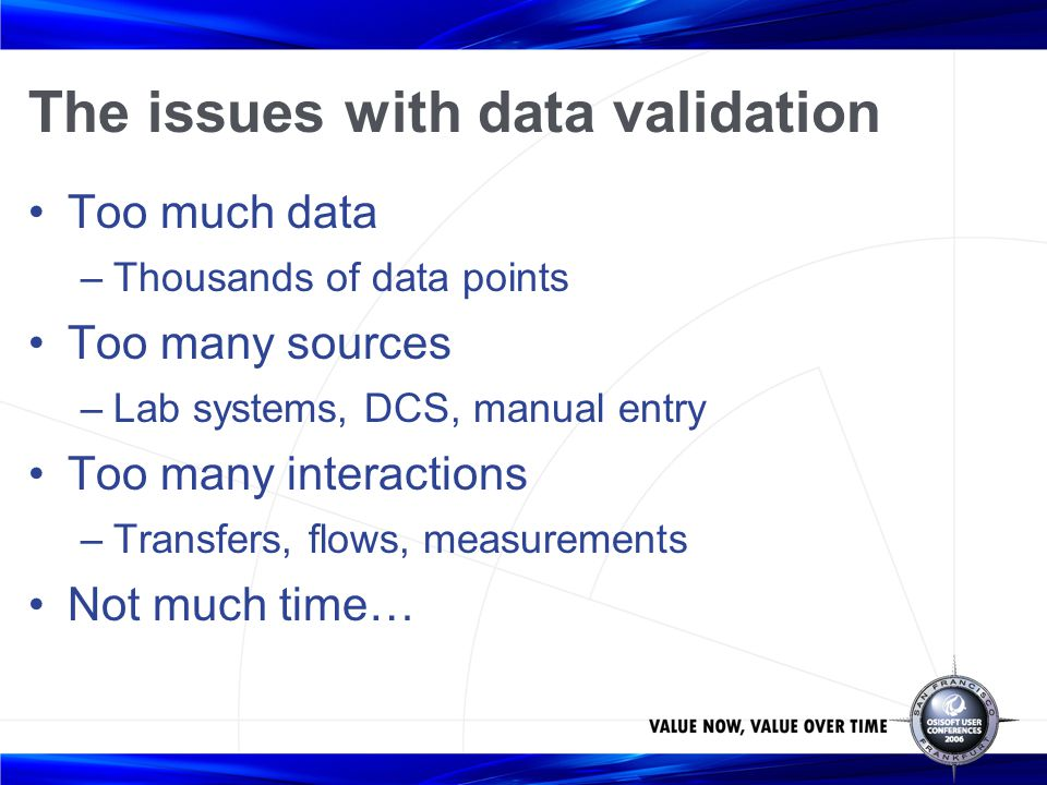 The issues with data validation