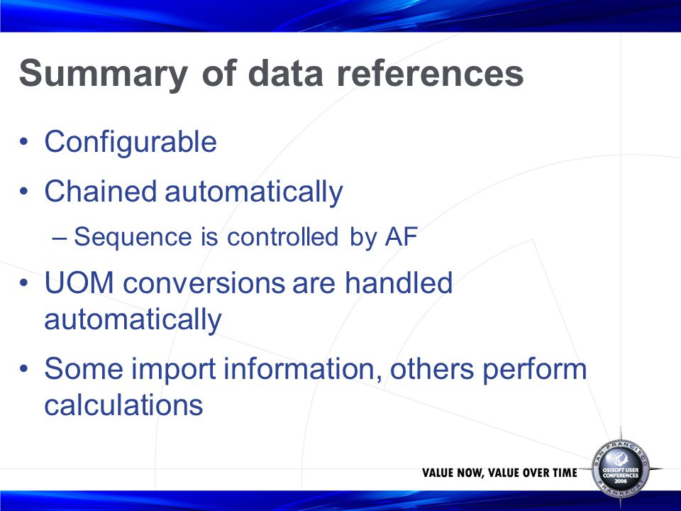 Summary of data references