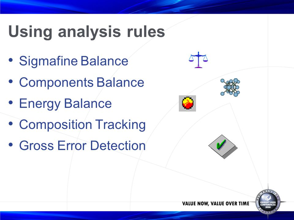 Using analysis rules Sigmafine Balance Components Balance