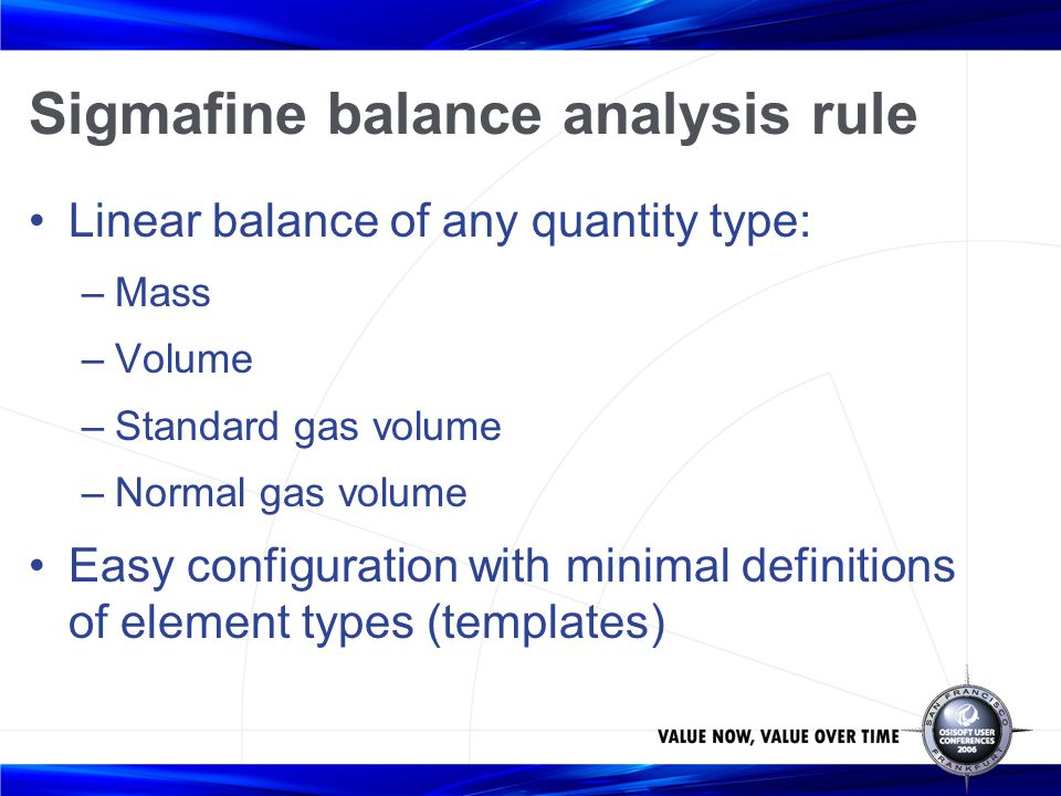 Sigmafine balance analysis rule