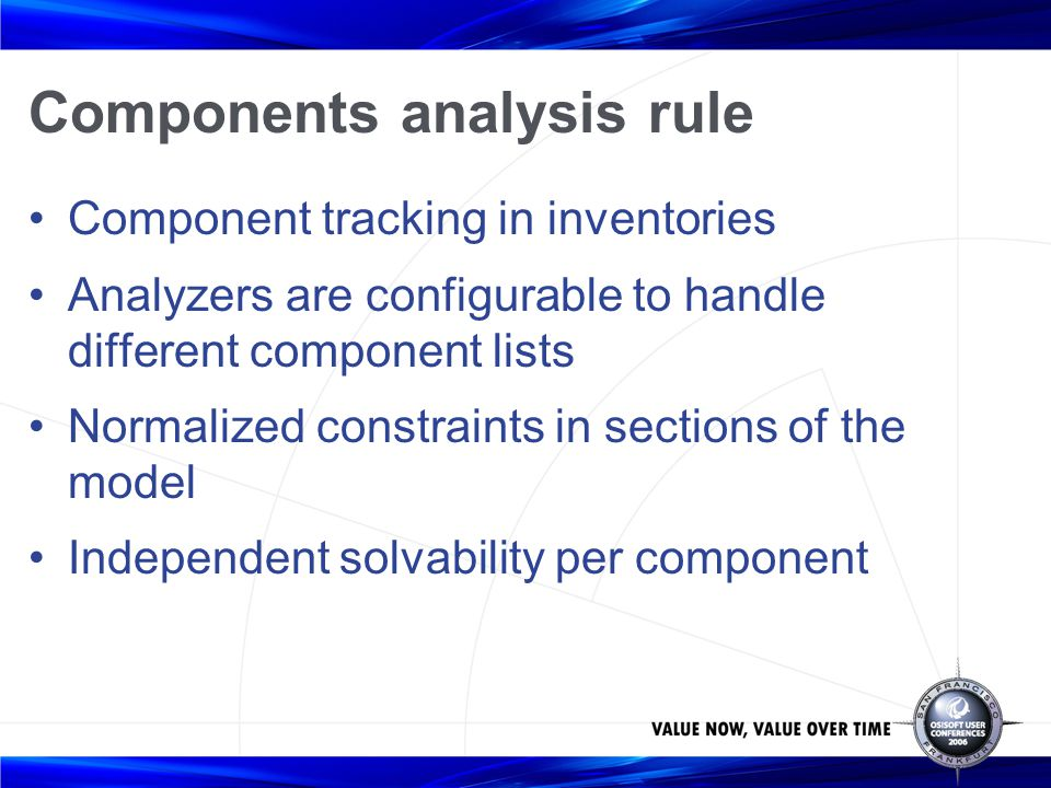 Components analysis rule