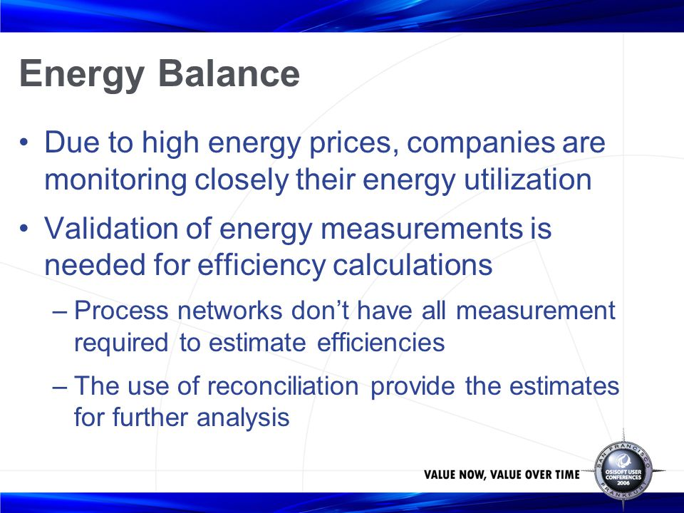 Energy Balance Due to high energy prices, companies are monitoring closely their energy utilization.