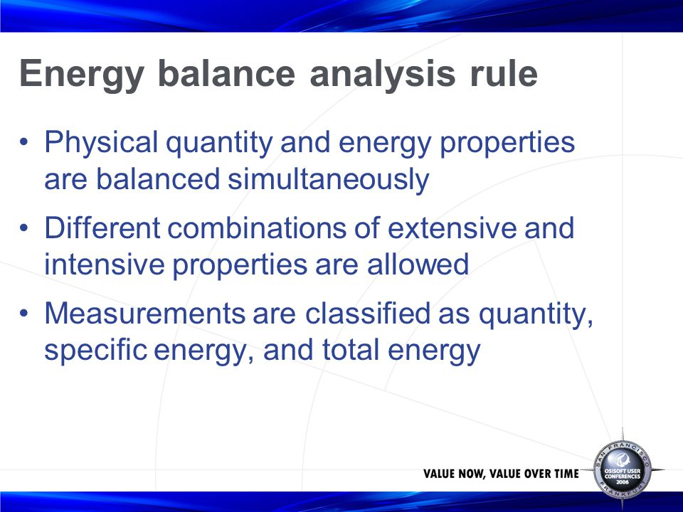 Energy balance analysis rule