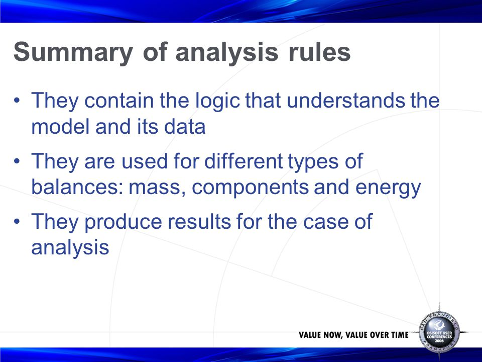 Summary of analysis rules
