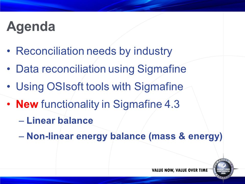 Agenda Reconciliation needs by industry