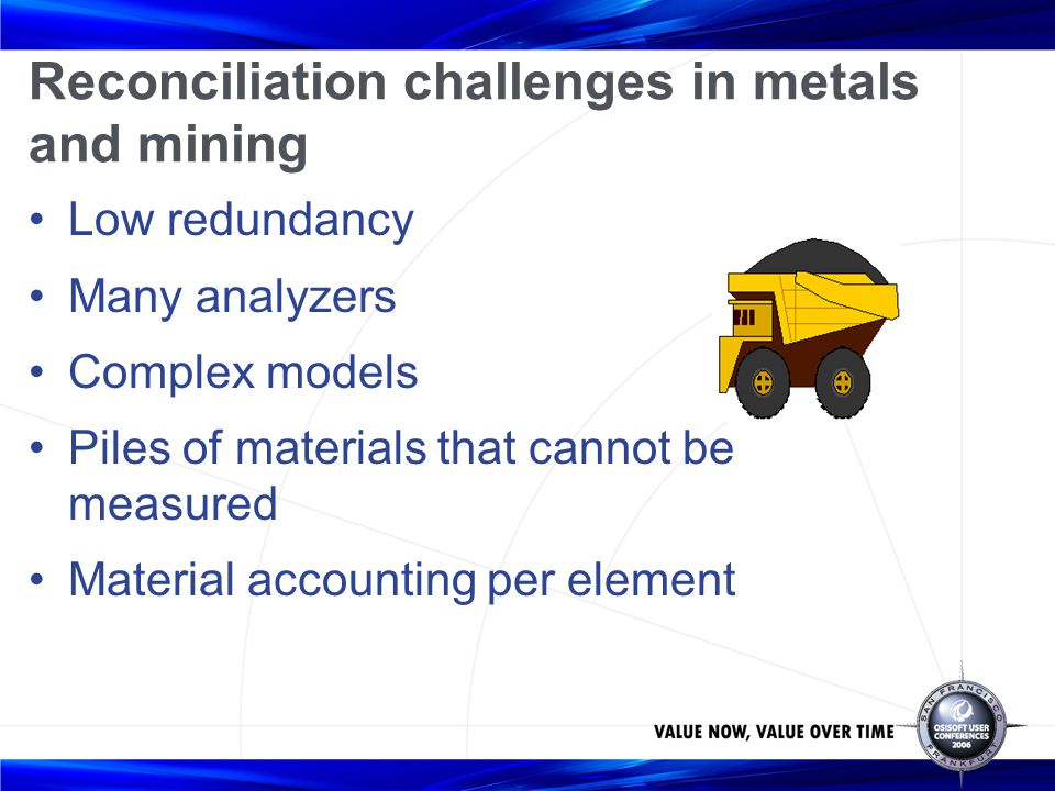 Reconciliation challenges in metals and mining
