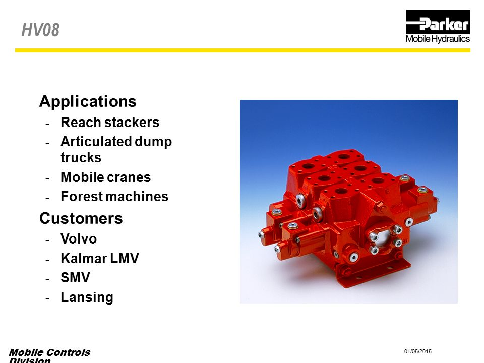 HV08 Applications Customers Reach stackers Articulated dump trucks