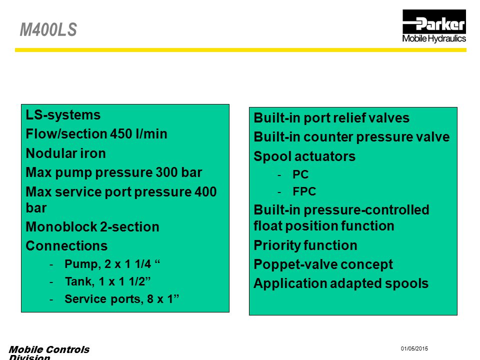 M400LS LS-systems Built-in port relief valves Flow/section 450 l/min