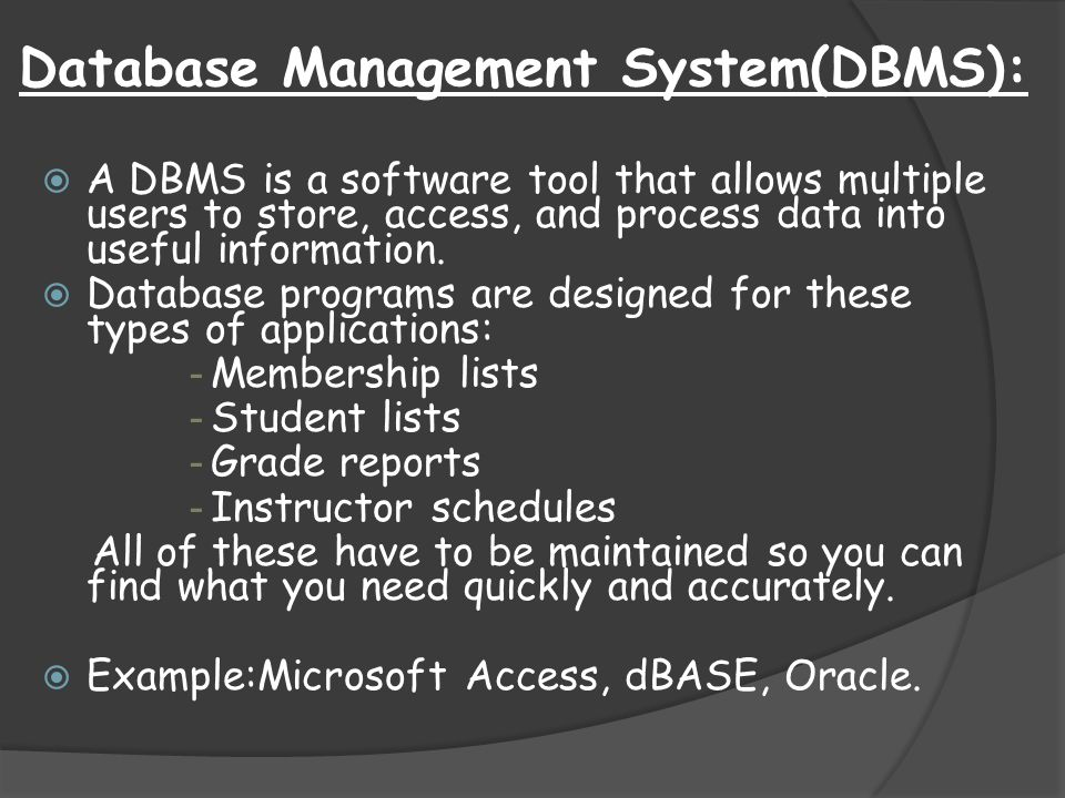 Database Management System(DBMS):