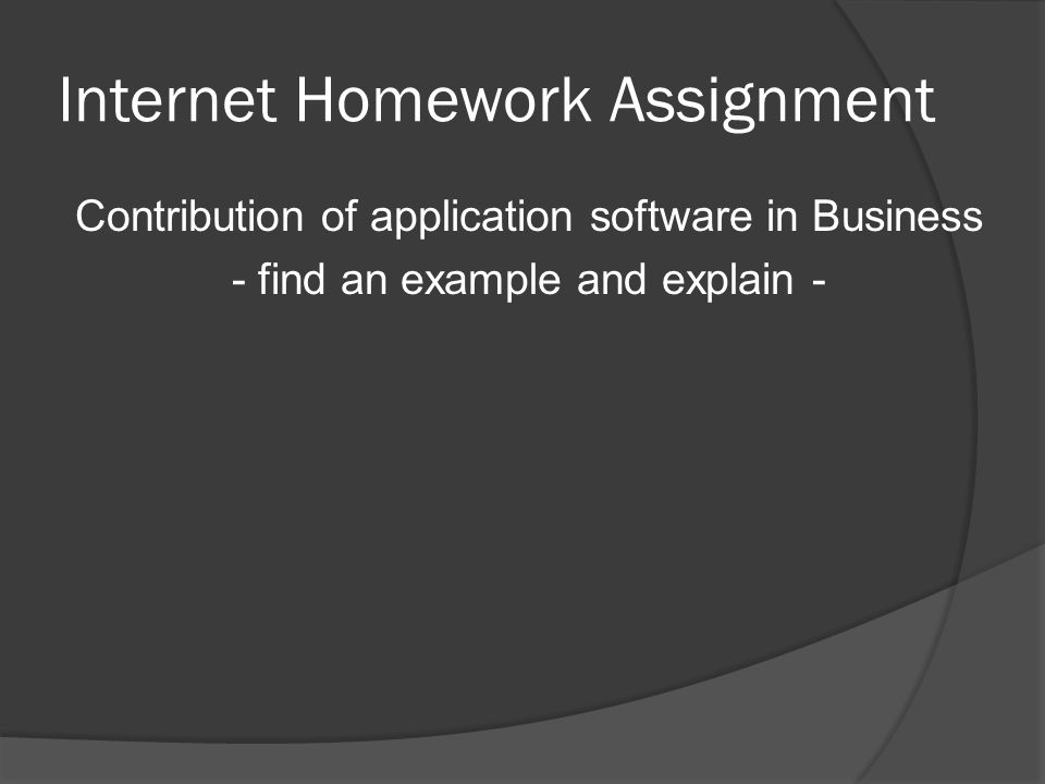 Internet Homework Assignment