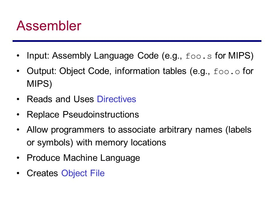 Assembler Input: Assembly Language Code (e.g., foo.s for MIPS)