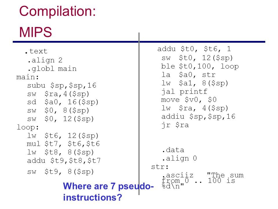 Compilation: MIPS addu $t0, $t6, 1 .text sw $t9, 8($sp)