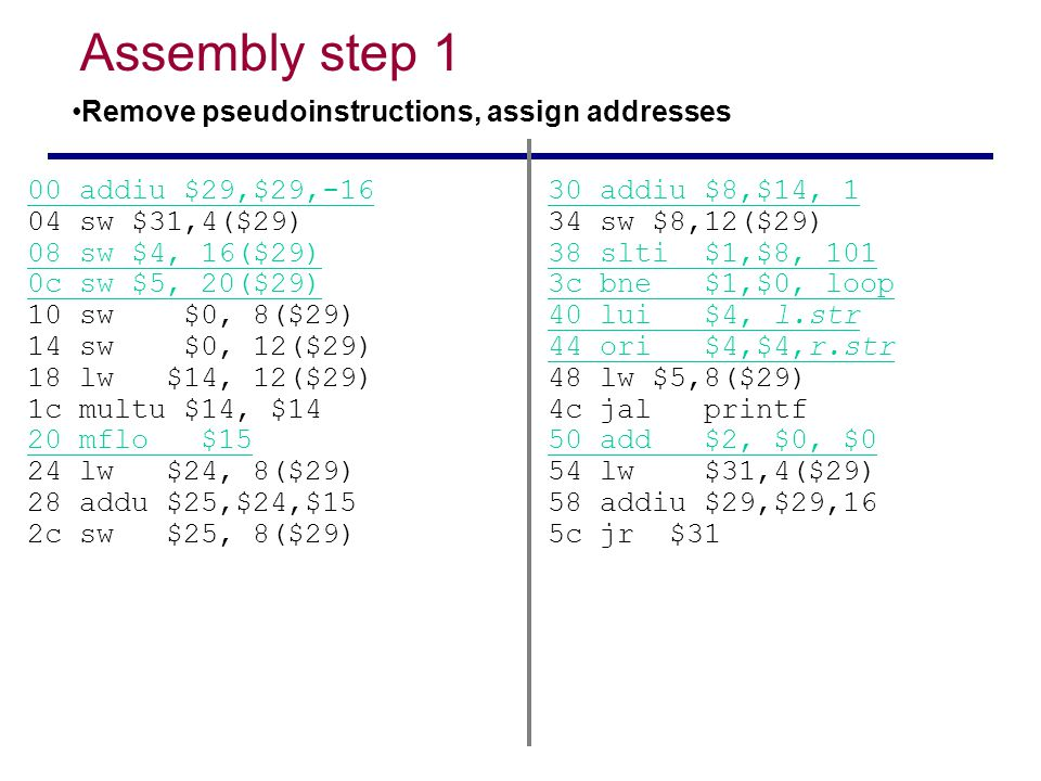 Assembly step 1 Remove pseudoinstructions, assign addresses