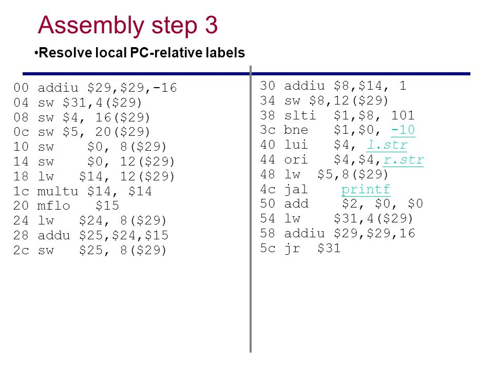 Assembly step 3 Resolve local PC-relative labels 30 addiu $8,$14, 1