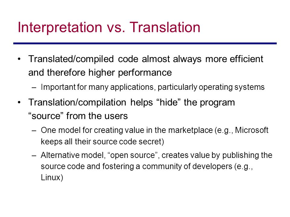 Interpretation vs. Translation