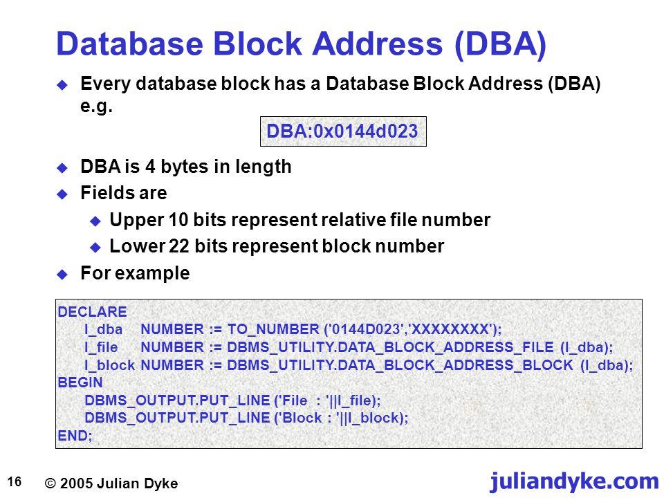 Database Block Address (DBA)