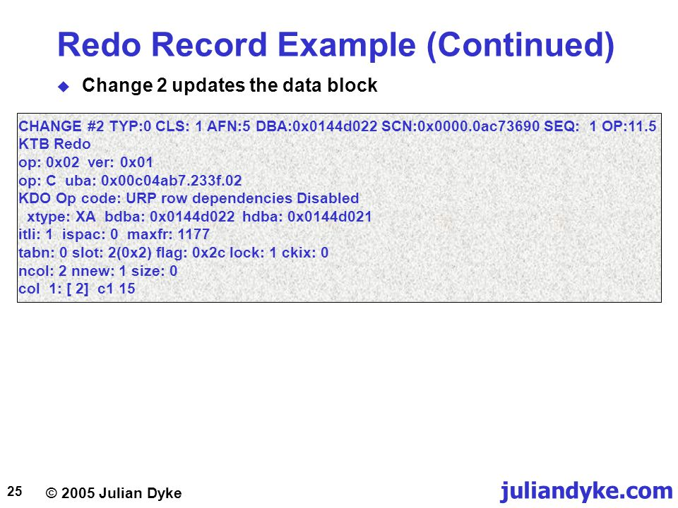 Redo Record Example (Continued)