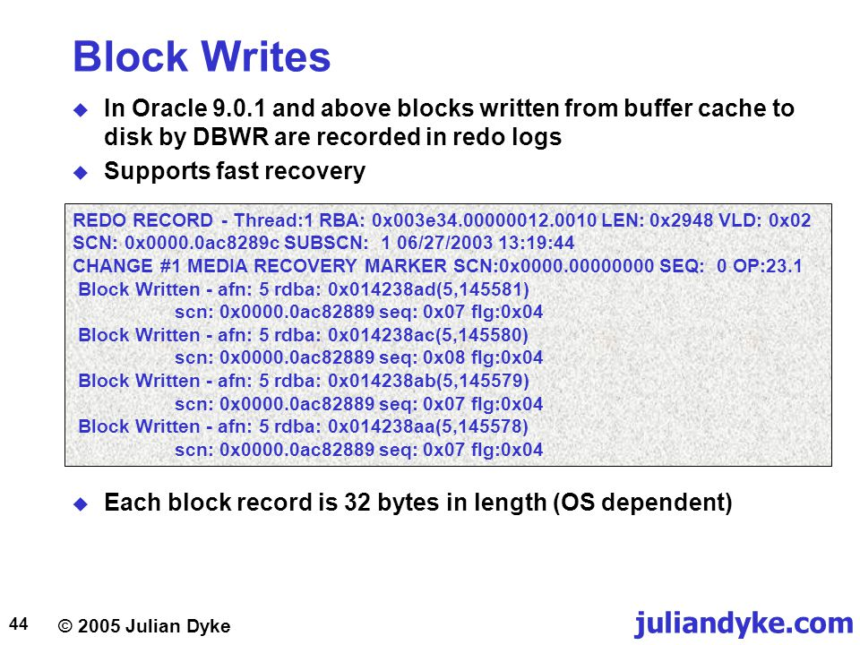 Block Writes In Oracle 9.0.1 and above blocks written from buffer cache to disk by DBWR are recorded in redo logs.