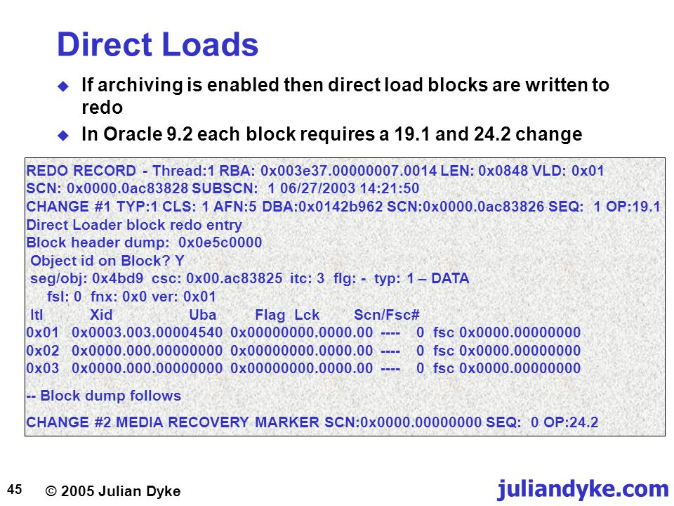 Direct Loads If archiving is enabled then direct load blocks are written to redo. In Oracle 9.2 each block requires a 19.1 and 24.2 change.