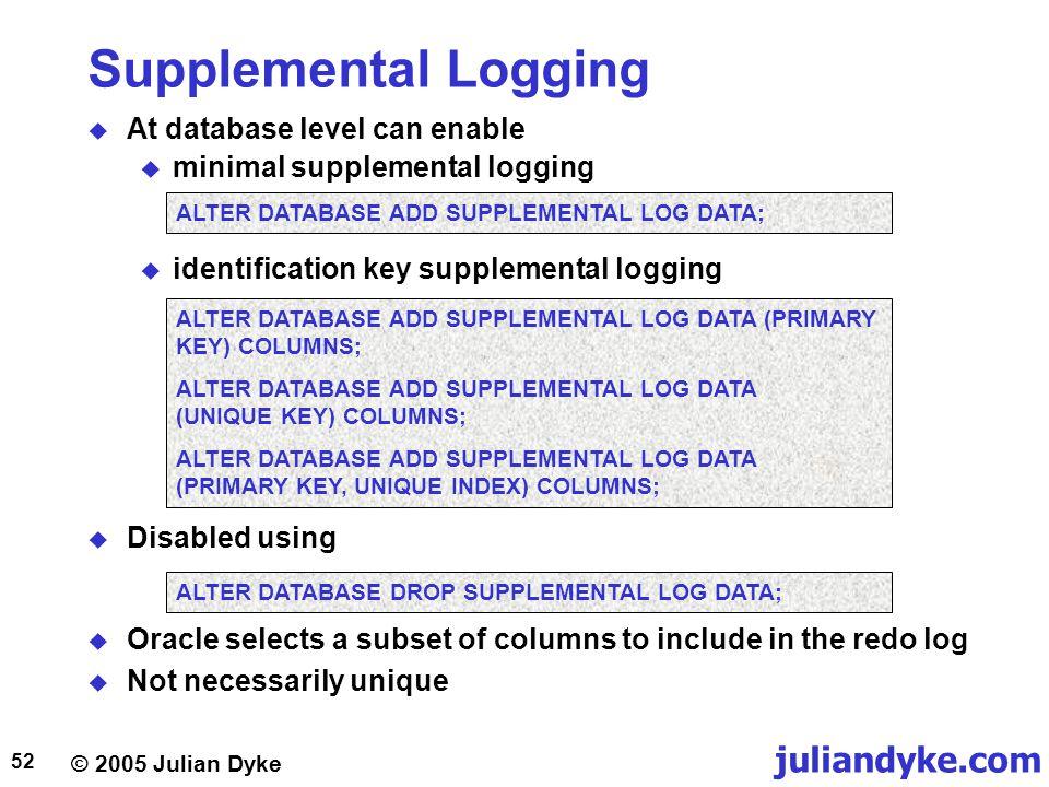 Supplemental Logging At database level can enable