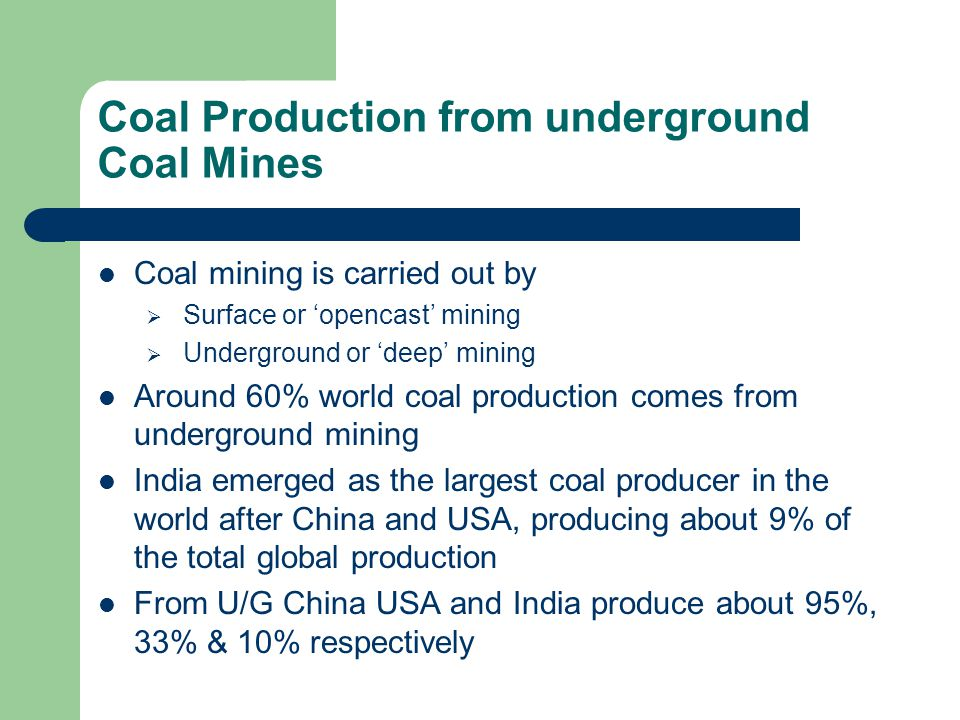Coal Production from underground Coal Mines