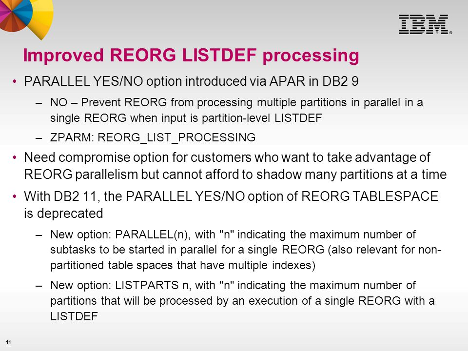 Improved REORG LISTDEF processing