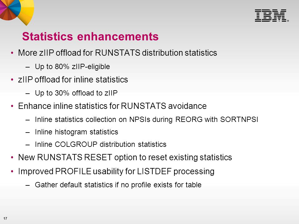 Statistics enhancements