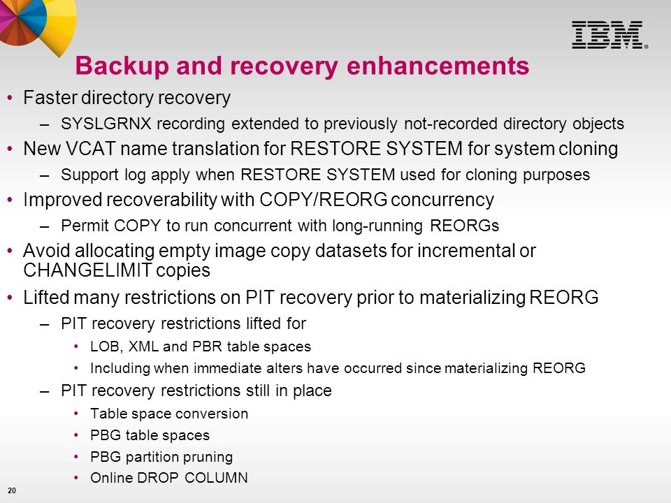 Backup and recovery enhancements
