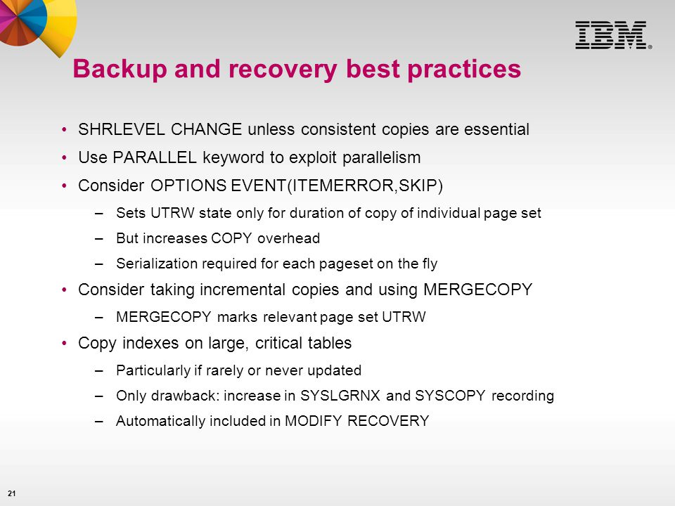 Backup and recovery best practices