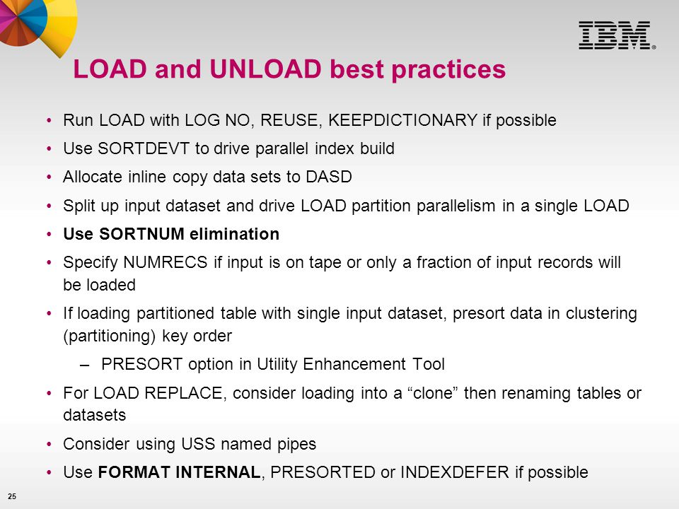 LOAD and UNLOAD best practices