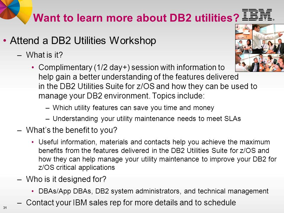 Want to learn more about DB2 utilities