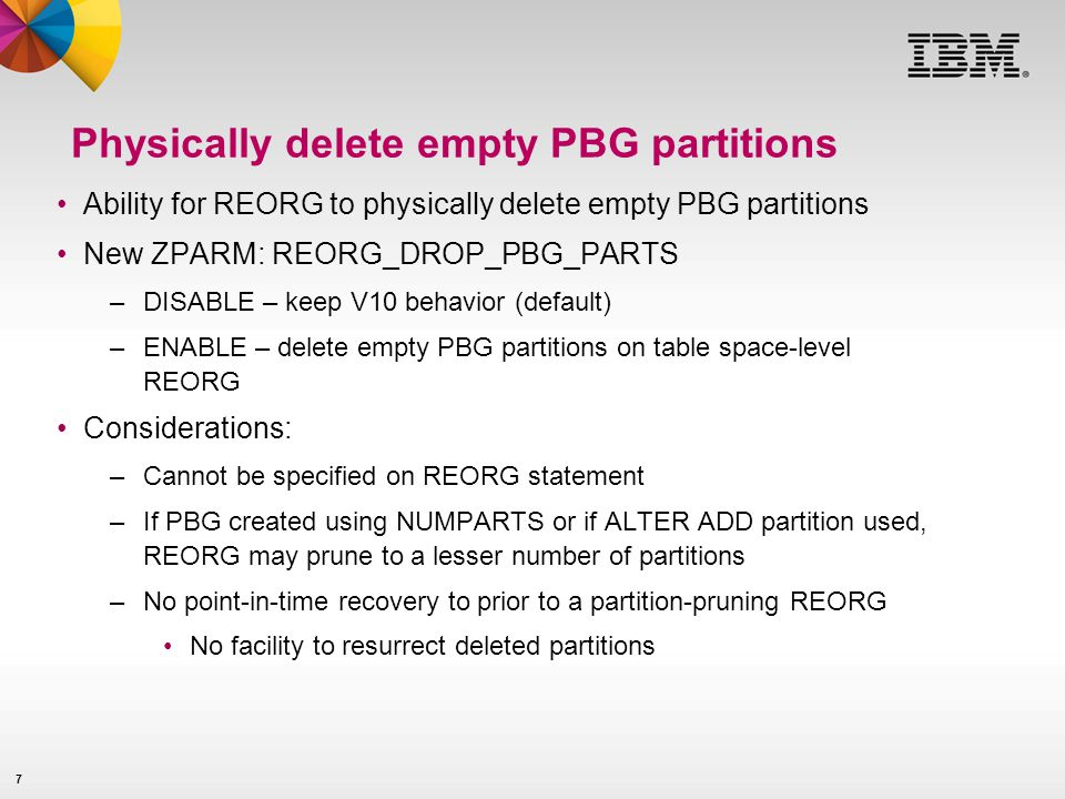 Physically delete empty PBG partitions