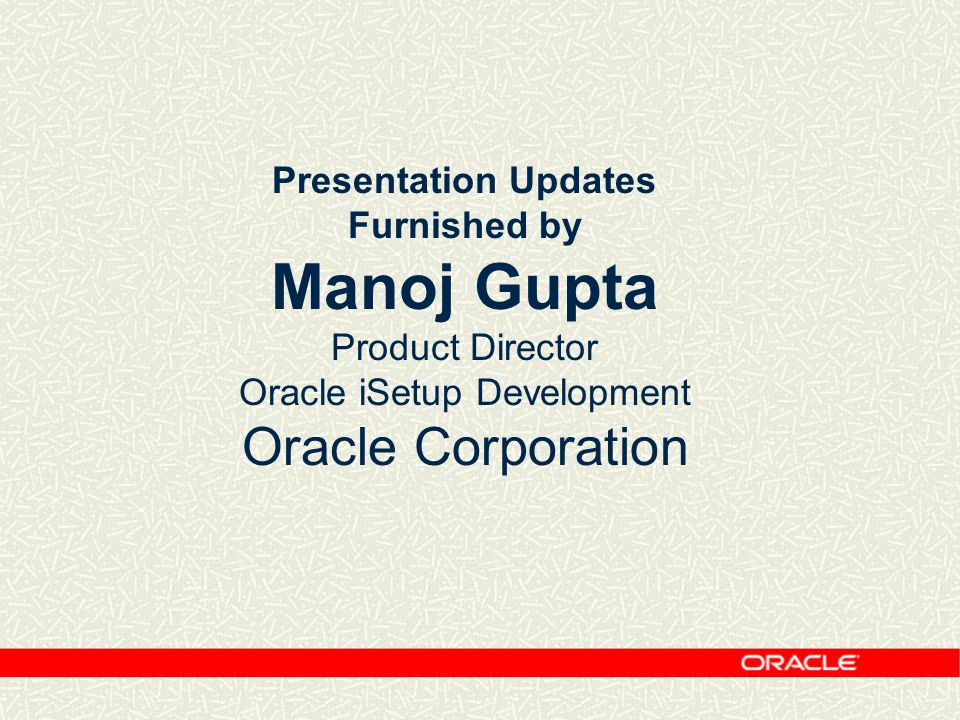 Oracle iSetup Development