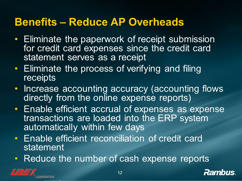Benefits – Reduce AP Overheads