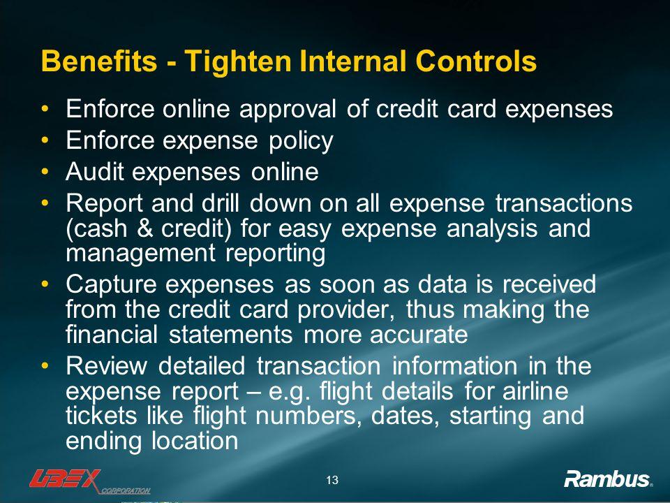 Benefits - Tighten Internal Controls